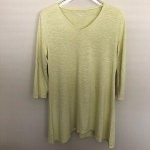 Eileen Fisher Cotton Green Tunic T-Shirt Top